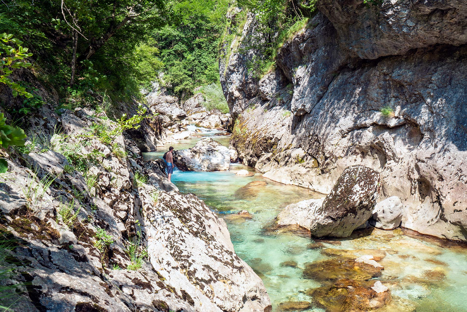 Secret swimming spot in Rakitnica Canyon