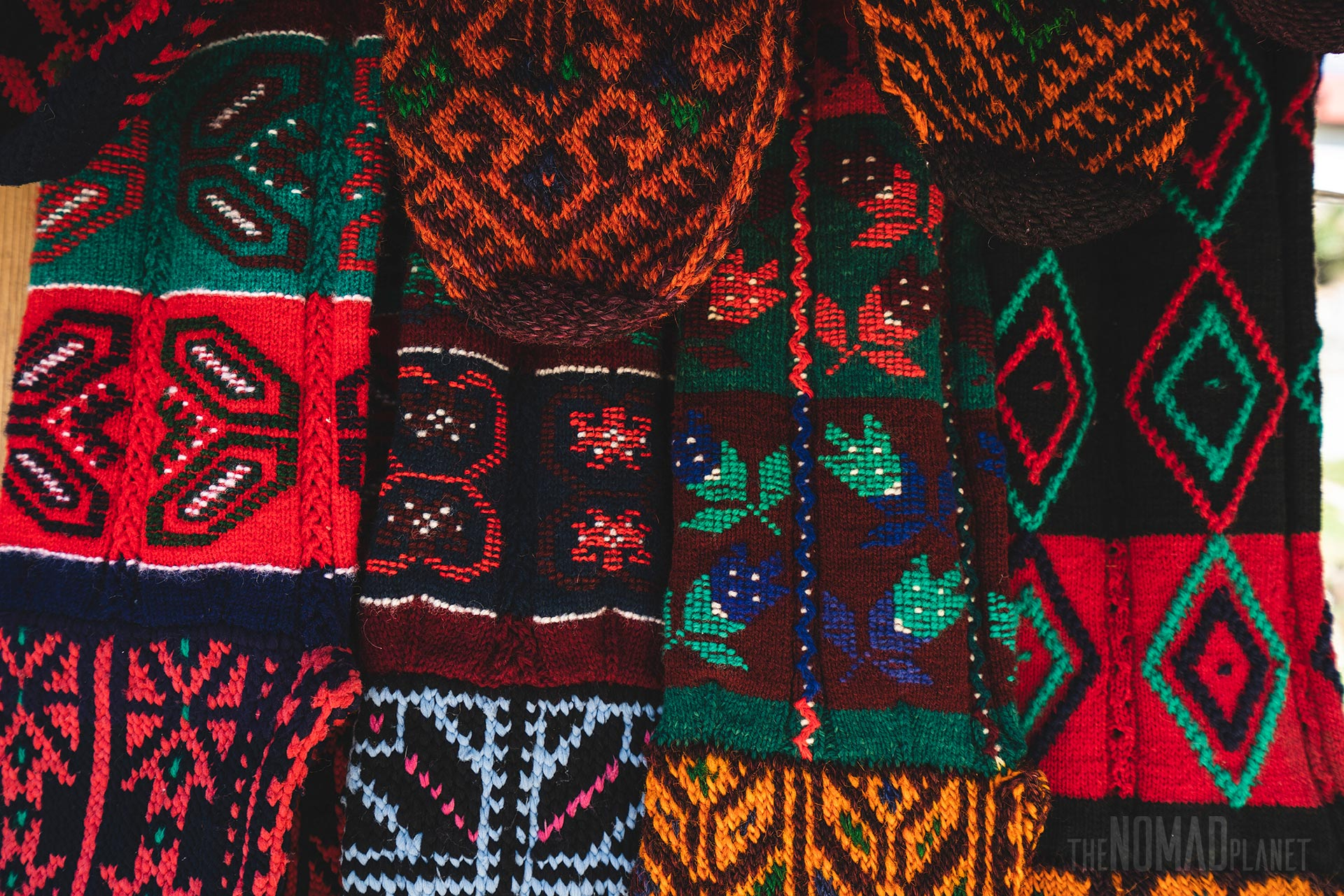 Woolen socks with traditional patterns