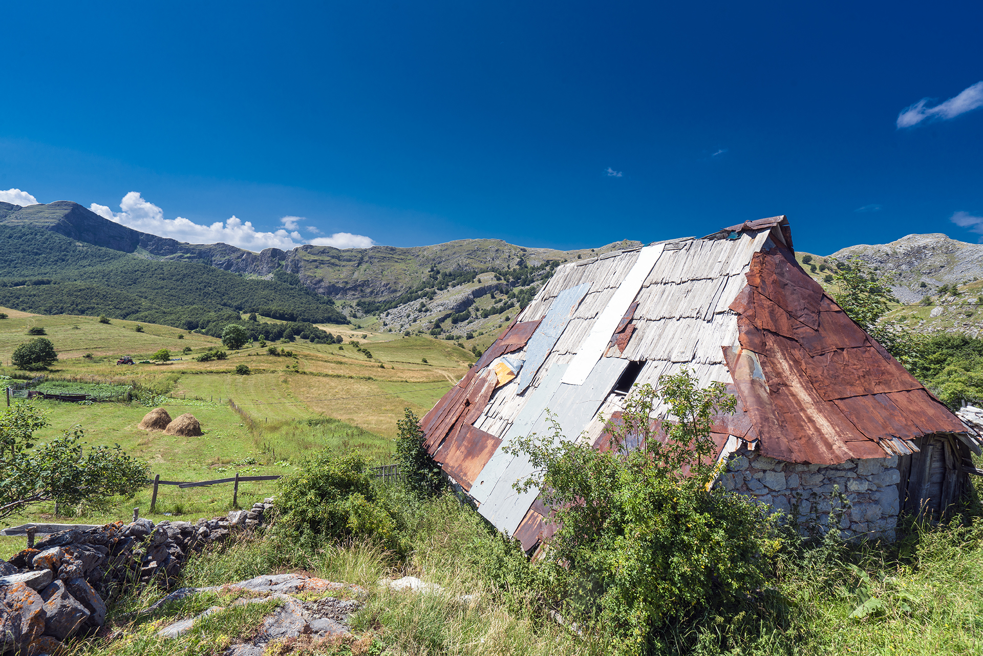 View of a traditional village in the Bosnian highlands