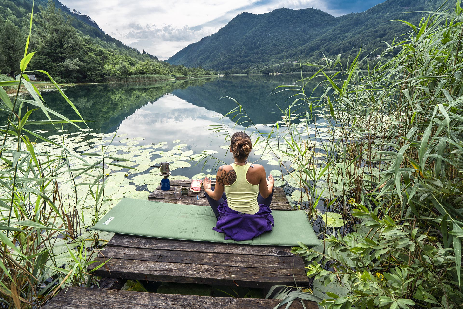 Meditating at Boracko lake, Herzegovina